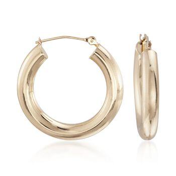 "14kt Yellow Gold Tube Hoop Earrings. 1"", , default"