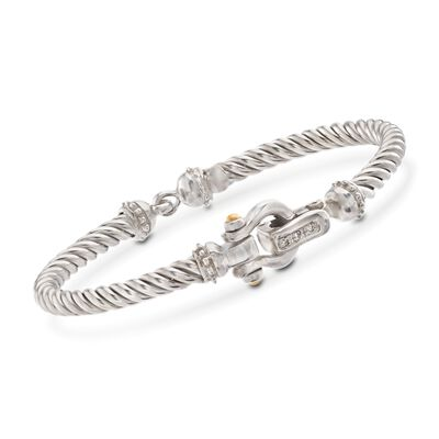 "Phillip Gavriel ""Italian Cable"" Sterling Silver and 18kt Gold Horseshoe Bracelet with Diamond Accents"