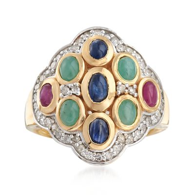 2.40 ct. t.w. Multi-Stone and .53 ct. t.w. Diamond Ring in 18kt Gold Over Sterling, , default