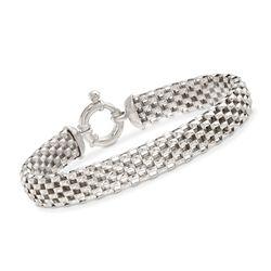 Italian Sterling Silver Mesh Bracelet, , default