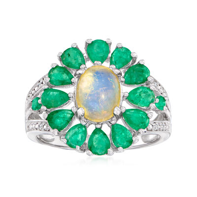 Opal and 1.66 ct. t.w. Emerald Ring with Diamond Accents in Sterling Silver