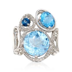 9.80 ct. t.w. Tonal Blue Topaz and .18 ct. t.w. Diamond Ring in Sterling Silver. Size 5, , default