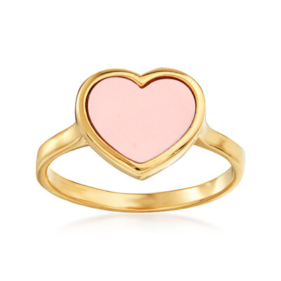 Italian Simulated Coral Heart Ring in 14kt Yellow Gold, , default