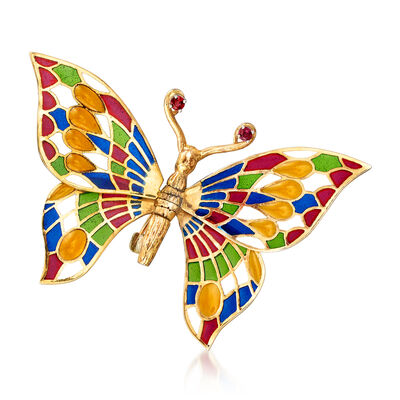 C. 1970 Vintage Plique-A-Jour Multicolored Enamel and .10 ct. t.w. Ruby Butterfly Pin in 14kt Yellow Gold, , default