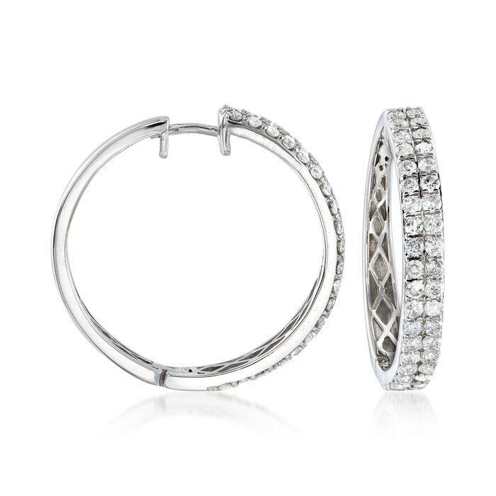 "2.00 ct. t.w. Diamond Two-Row Hoop Earrings in 14kt White Gold. 1"", , default"
