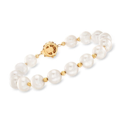 9-10mm Cultured Pearl Bead Bracelet in 14kt Yellow Gold, , default
