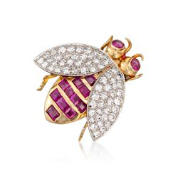 C. 1960 Vintage 1.70 ct. t.w. Ruby and 1.25 ct. t.w. Diamond  Bee Pin in 18kt Tow-Tone Gold, , default