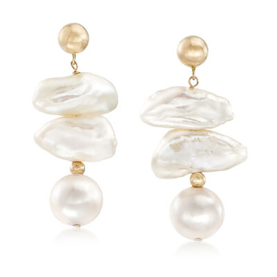 Cultured Baroque and Near-Round Pearl Drop Earrings in 14kt Yellow Gold, , default
