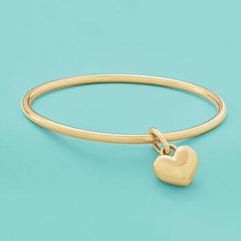 Italian Andiamo 14kt Yellow Gold Heart Charm Bangle Bracelet, , default