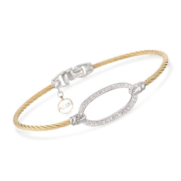 "ALOR ""Classique"" .16 ct. t.w. Diamond Oval Yellow Cable Bracelet With 18kt Two-Tone Gold. 7"", , default"