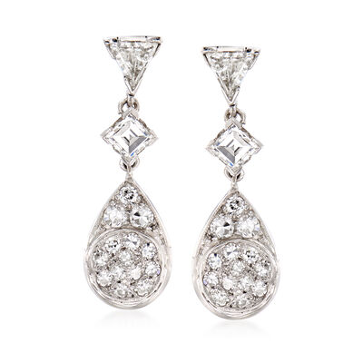 C. 1980 Vintage 1.50 ct. t.w. Diamond Earrings in Platinum, , default