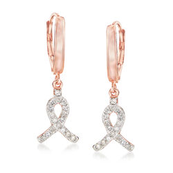 .25 ct. t.w. Diamond Ribbon Drop Earrings in 14kt Rose Gold Over Sterling Silver, , default