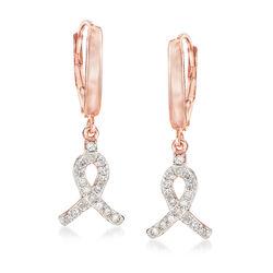 .25 ct. t.w. Diamond Ribbon Drop Earrings in 14kt Rose Gold Over Sterling Silver, , default