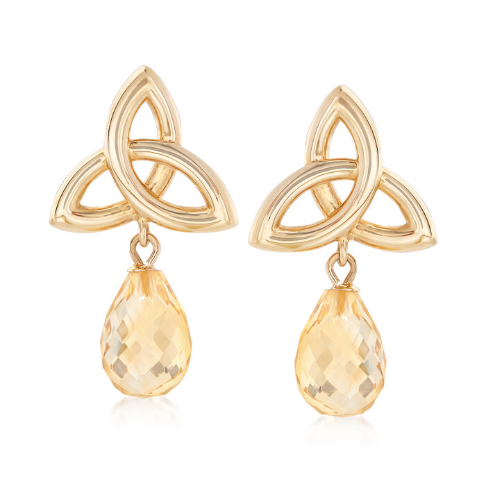 6.50 ct. t.w. Citrine Celtic Infinity Knot Drop Earrings in 14kt Yellow Gold, , default