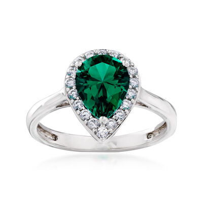 Simulated Emerald and .20 ct. t.w. CZ Ring in Sterling Silver, , default