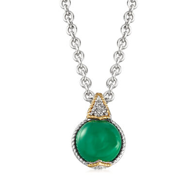 "Andrea Candela ""Dulcitos"" Green Agate Pendant Necklace in Sterling Silver and 18kt Yellow Gold, , default"