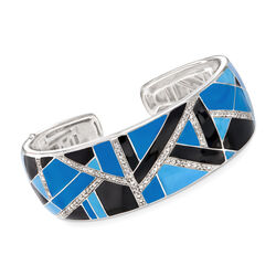 "Belle Etoile ""Delano"" Blue and Black Enamel and .65 ct. t.w. CZ Cuff Bracelet in Sterling Silver, , default"