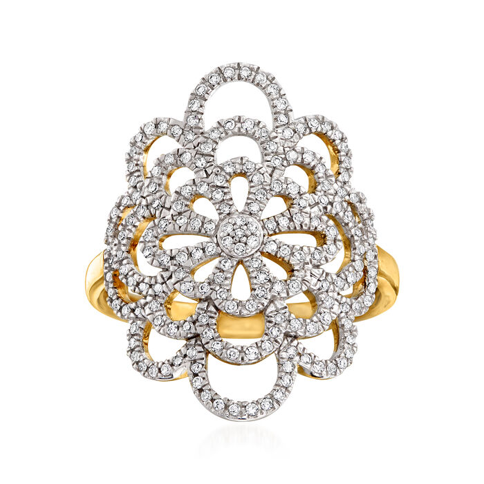 .35 ct. t.w. Diamond Open-Space Floral Ring in 14kt Yellow Gold, , default