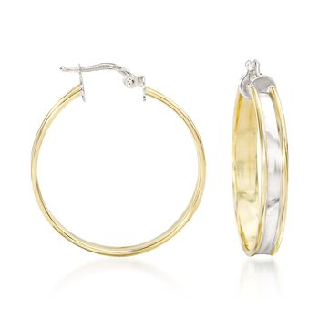 "Italian 18kt Yellow Gold and Sterling Silver Hoop Earrings. 1 3/8"", , default"