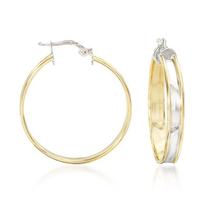 Italian 18kt Yellow Gold and Sterling Silver Hoop Earrings, , default