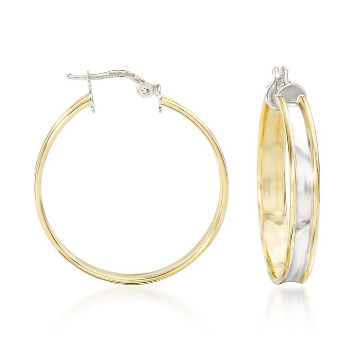 """Italian 18kt Yellow Gold and Sterling Silver Hoop Earrings. 1 3/8"""", , default"""