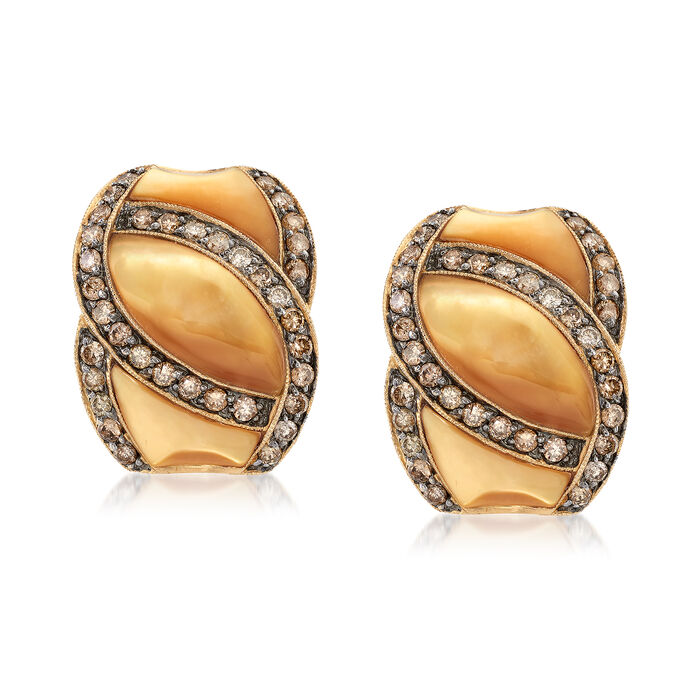 C. 1990 Vintage .95 ct. t.w. Diamond and Mother-Of-Pearl Earrings in 14kt Yellow Gold, , default