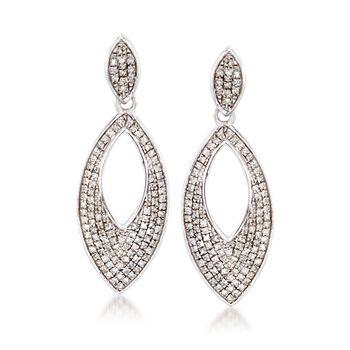.33 ct. t.w. Diamond Marquise Drop Earrings in Sterling Silver, , default
