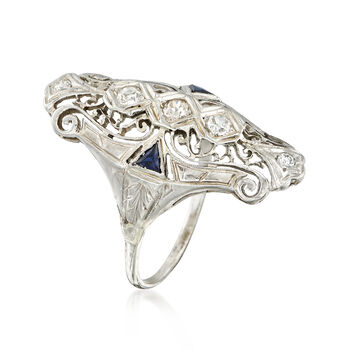 C. 1940 Vintage .47 ct. t.w. Diamond and .20 ct. t.w. Synthetic Sapphire Filigree Ring in 18kt White Gold. Size 8.5, , default