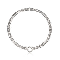 Italian Sterling Silver Riso Link Necklace, , default