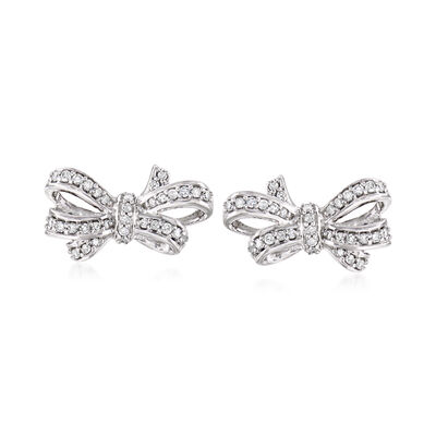 .24 ct. t.w. Diamond Bow Earrings in Sterling Silver, , default
