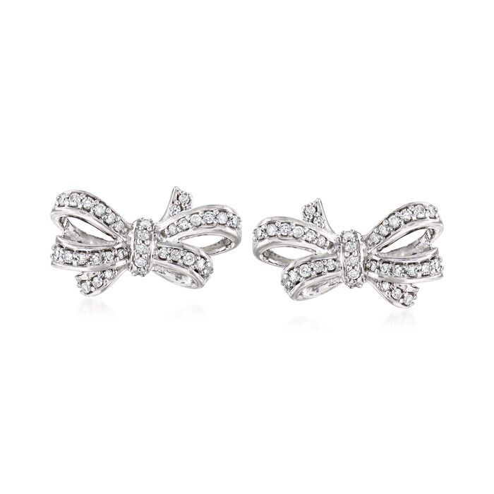 .24 ct. t.w. Diamond Bow Earrings in Sterling Silver