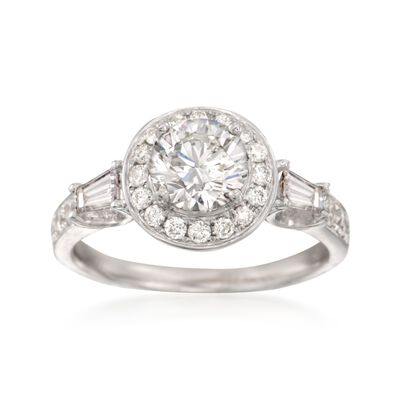 1.70 ct. t.w. Certified Diamond Halo Engagement Ring in 18kt White Gold, , default