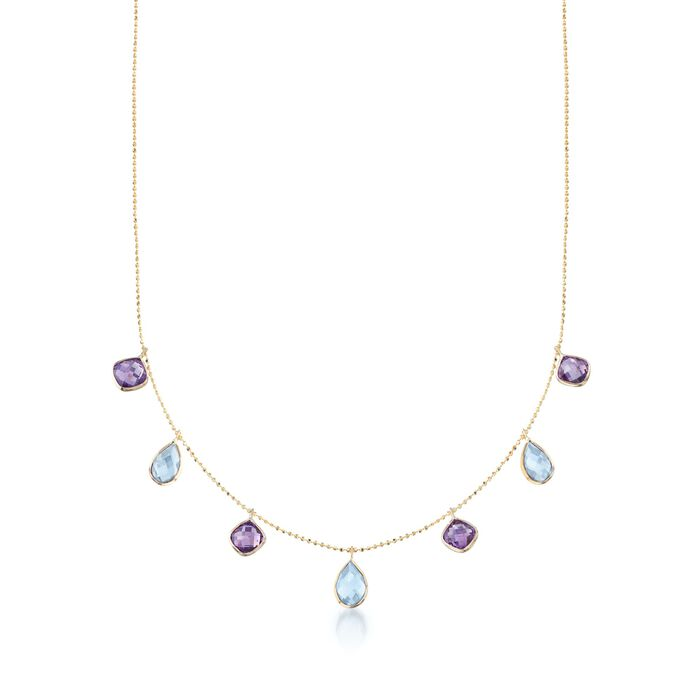 """5.00 ct. t.w. Blue Topaz and 3.60 ct. t.w. Amethyst Station Necklace in 14kt Yellow Gold. 16"""", , default"""