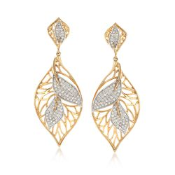 .72 ct. t.w. Diamond Openwork Leaf Drop Earrings in 14kt Yellow Gold, , default