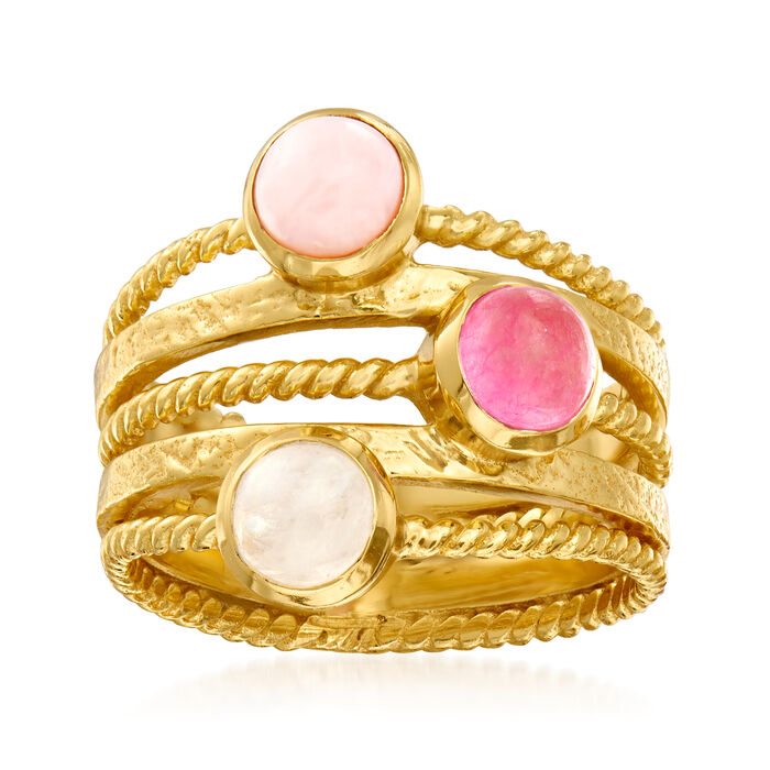 Moonstone, Pink Opal and Pink Quartz Ring in 18kt Gold Over Sterling