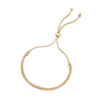 Italian 18kt Yellow Gold Over Sterling Silver Mesh-Style Bolo Bracelet, , default