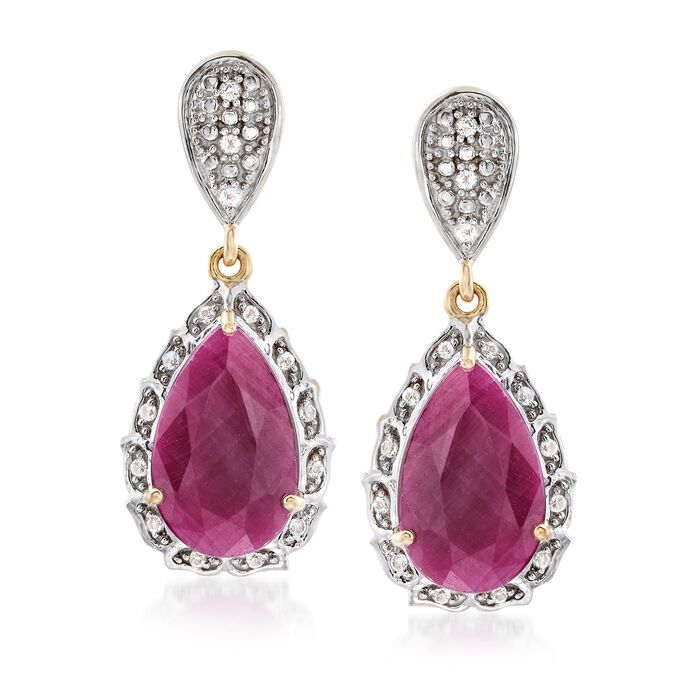 12.00 ct. t.w. Ruby and .29 ct. t.w. White Topaz Drop Earrings in 18kt Gold Over Sterling , , default