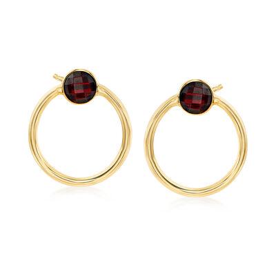 Italian 1.50 ct. t.w. Garnet Open-Circle Earrings in 14kt Yellow Gold, , default
