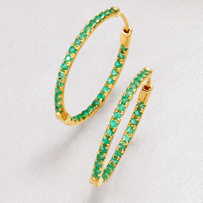 .90 ct. t.w. Emerald Inside-Outside Hoop Earrings in 14kt Yellow Gold