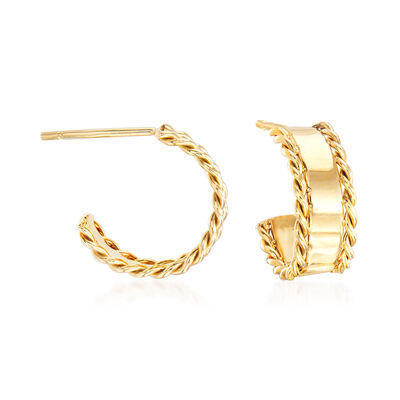 "Phillip Gavriel ""Italian Cable"" Hoop Earrings in 14kt Yellow Gold, , default"