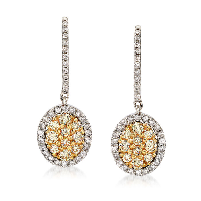 C. 2000 Vintage 1.30 ct. t.w. White and Yellow Diamond Drop Earrings in 14kt Two-Tone Gold, , default