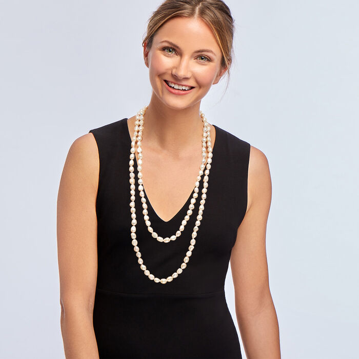 """10-11mm Cultured Pearl Long Endless Necklace. 64"""", , default"""
