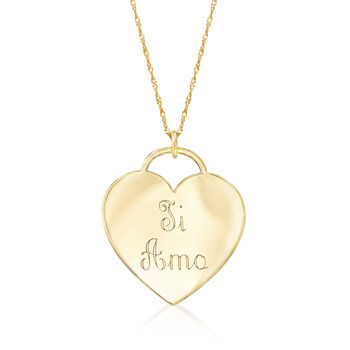 """14kt Yellow Gold Heart-Shaped """"I Love You"""" Pendant Necklace, , default"""