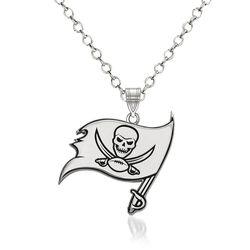 "Sterling Silver NFL Tampa Bay Buccaneers Enamel Pendant Necklace. 18"", , default"