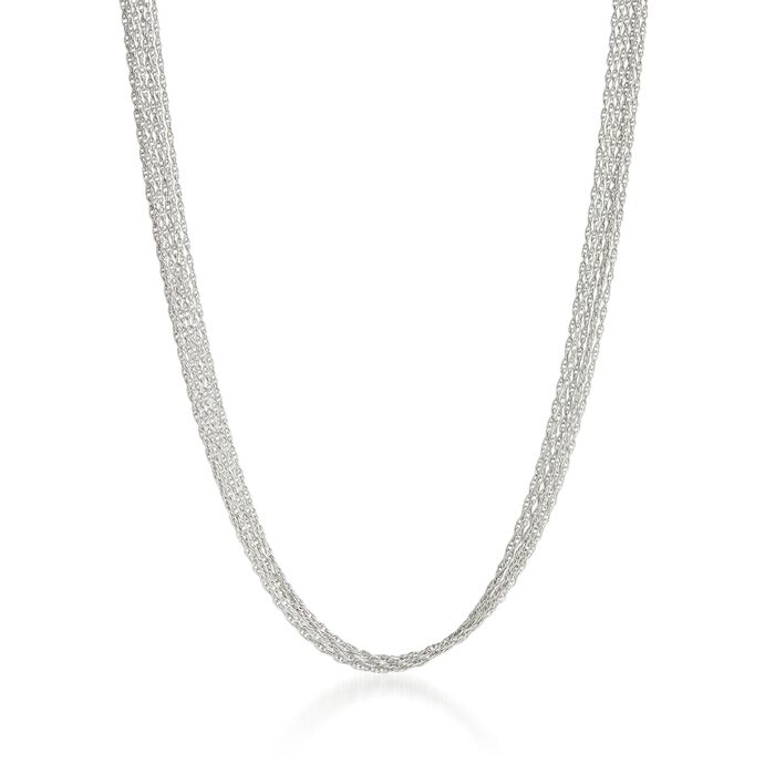 Italian 18kt White Gold Six-Strand Rope Chain Necklace, , default
