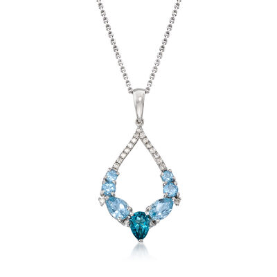 1.70 ct. t.w. Sky and London Blue Topaz and .13 ct. t.w. Diamond Pendant Necklace in 14kt White Gold, , default