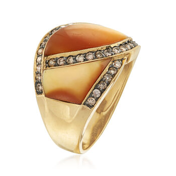 C. 1990 Vintage .65 ct. t.w. Diamond and Mother-Of-Pearl Ring in 14kt Yellow Gold. Size 7.25, , default