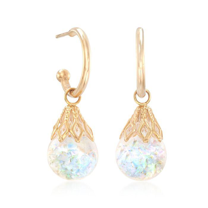 Floating Opal Hoop Drop Earrings in 14kt Yellow Gold