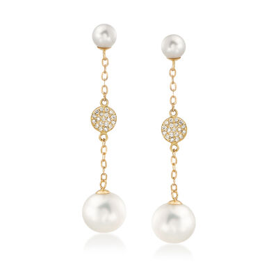 Cultured Pearl and .20 ct. t.w. Diamond Drop Earrings in 14kt Yellow Gold, , default