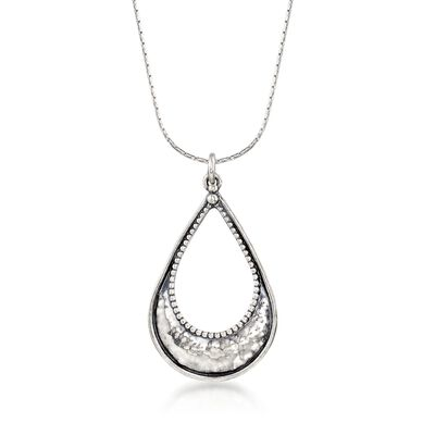 Sterling Silver Textured and Polished Open Teardrop Necklace, , default